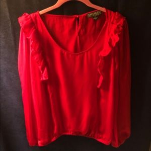 Forever 21 Bright Red Ruffle Long Sleeve Blouse
